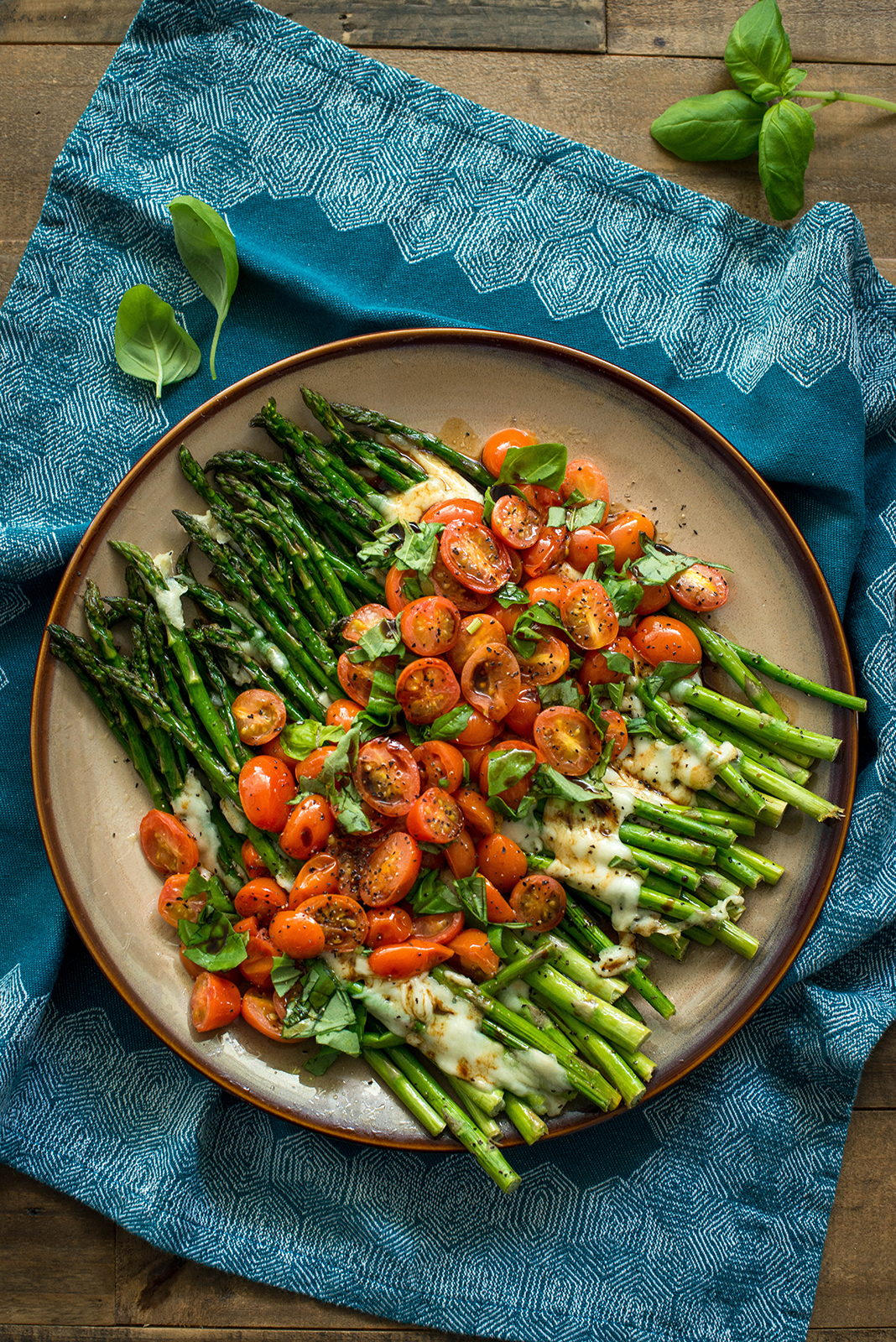Caprese Style Roasted Asparagus   Nibbles and Feasts